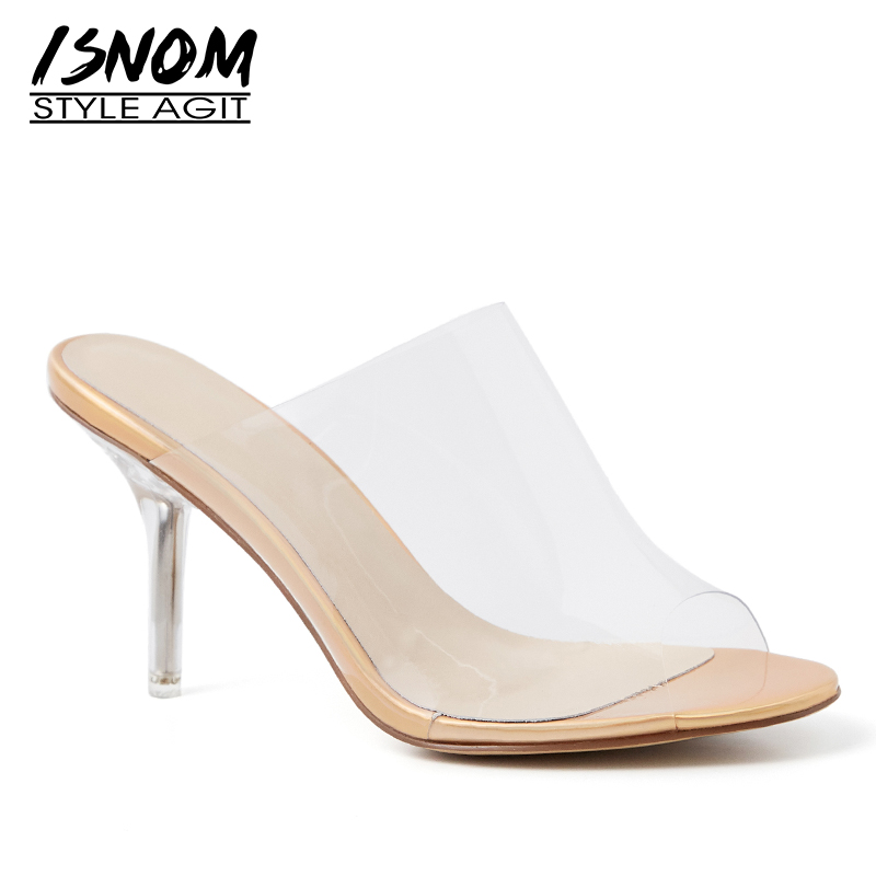 ISNOM Transparent High Heesl Slippers Woman Peep Toe Footwear Pvc Slides Shoes Female Party Mules Shoes