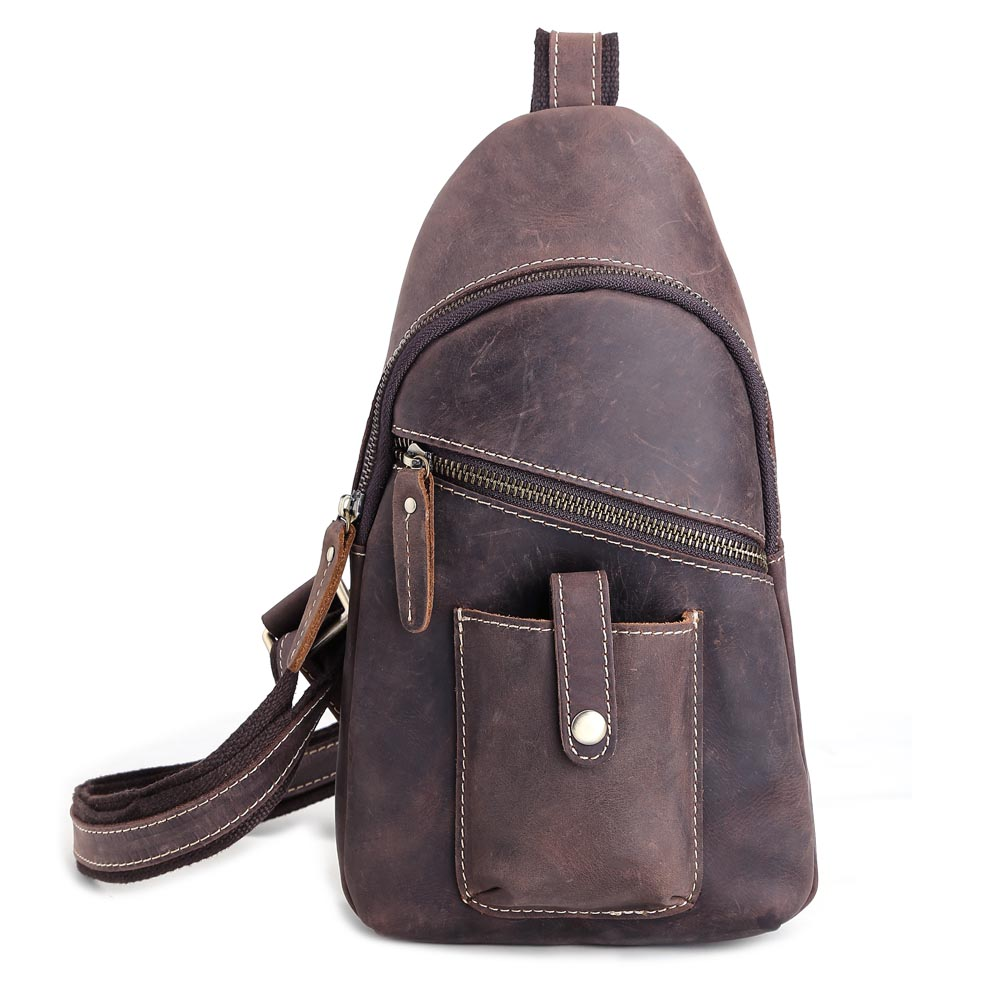 TIDING Vintage style leather chest bag for men crossbody ...