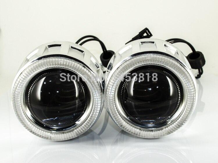CIRCULAIRE 2.5 pouces Bi Xénon projecteur lentille CCFL D'oeil D'ange + 2 pièces Ballast CACHÉ Bloc H1 H7 H4 H11 HB3 HB4 9004 9007 8000 K 6000 K 4300 K