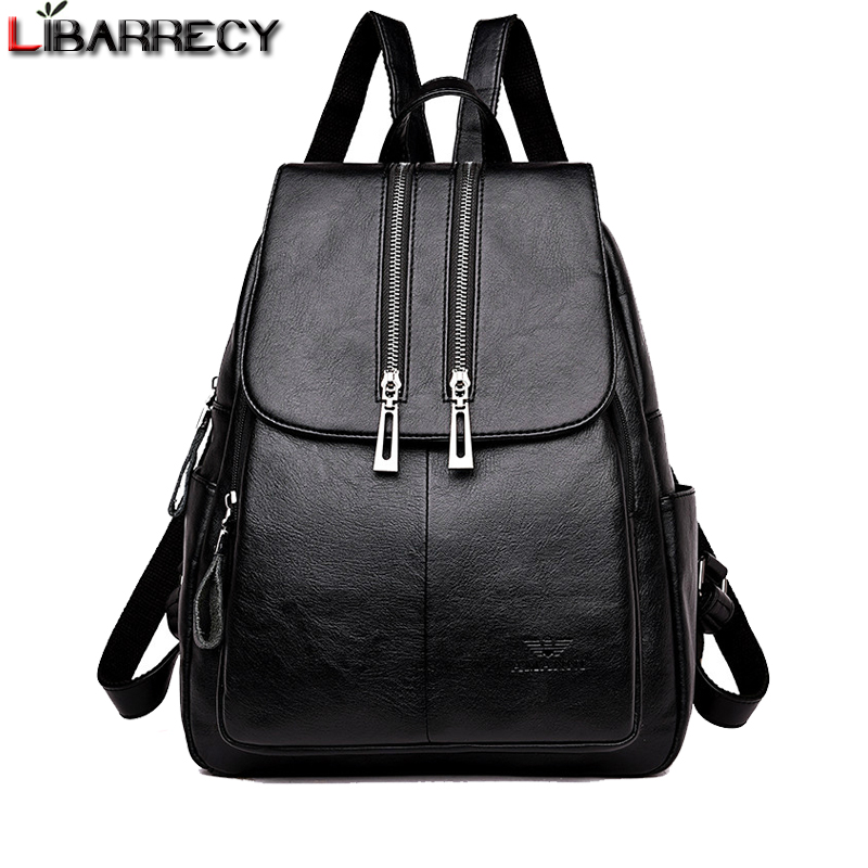 Fashion Double Zipper Backpack Female Large Capacity School Bag for Girls Simple Shoulder Bags for Women 2018 Travel Bag Mochila 2017 brand designer women simple style backpack fashion pu leather black school bag for girls large capacity shoulder travel bag