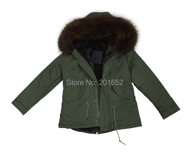 womens green natural fur coats genuine raccoon fur-trimmed hood ladies fur coat mr mrs fur Coats & Jackets