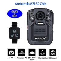 Boblov HD66 02 hd 1296 p câmera de vídeo wearable polícia segurança camcorder ambarella a7 controle remoto 64 gb câmera do corpo da polícia gps|body camera|police body camerapolice camera gps -