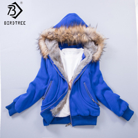 US Size S 3XL Upgraded Quality Jacket Women Spring Winter Coat,Sweatshirt Large Raccoon Fur Hoodie Women Clothing #3002
