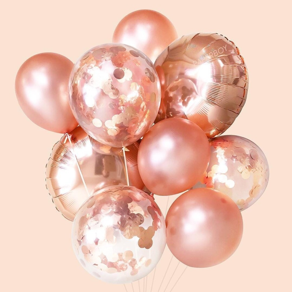 Rose Gold Confetti Balloons 18inch Round Shape Party Decrations Bachelorette bridal shower Wedding & Engagement Party Balloon
