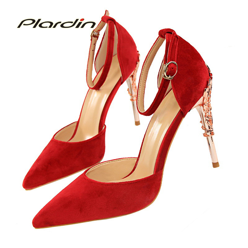 plardin 2018 women  Ankle Strap Bling Metal Decoration shoes woman pointed toe Suede material  women's Buckle pumps high heels pu pointed toe flats with eyelet strap