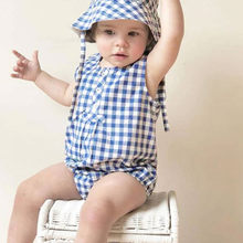 Toddler Kids Girls Boys Onesies Sleeveless Plaid Romper Hat Casual Baby Clothes Newborn Boy Jumpsuit Little Girls Rompers(China)
