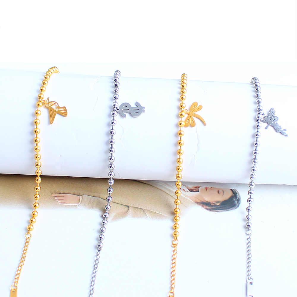 SHE WEIER stainless steel chain link couple braclet for women beads bracelet bangles charm  female femme silver gold Rose