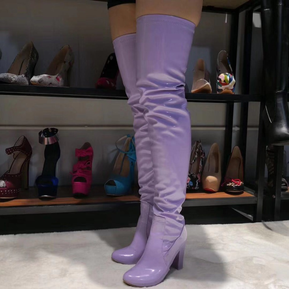 Original Intention  Women Over The Knee Boots Square High Heels Boots Nice Round Toe Elegant Purple Party Shoes Women Size 5-15Original Intention  Women Over The Knee Boots Square High Heels Boots Nice Round Toe Elegant Purple Party Shoes Women Size 5-15