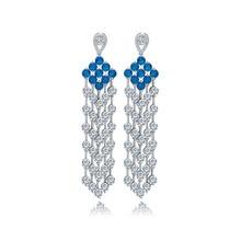 Fashion Jewelry Women Drop Dangle Earrings Brand New Gorgeous Cubic Zircon Tassel Earrings Wedding Banquet Party Ear Accessory