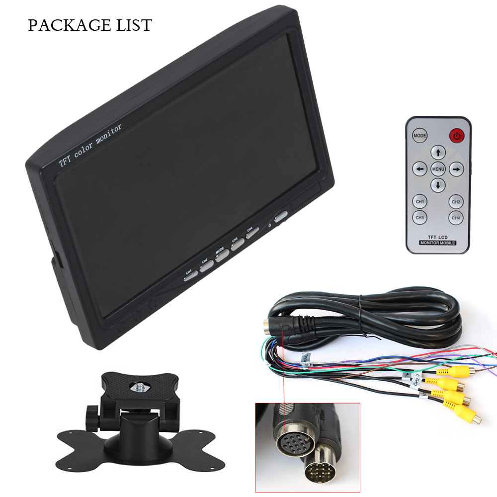 2018 7 Inch Hd 4 Split Screen Car Monitor 4 Channels TFT LCD Display Auto DC 12V Reversing Camera System Car Rearview Monitor buyee 7 inch tft lcd car reversing rearview display monitor 1 2 4 split screen for car parking rear view camera 4 av inputs