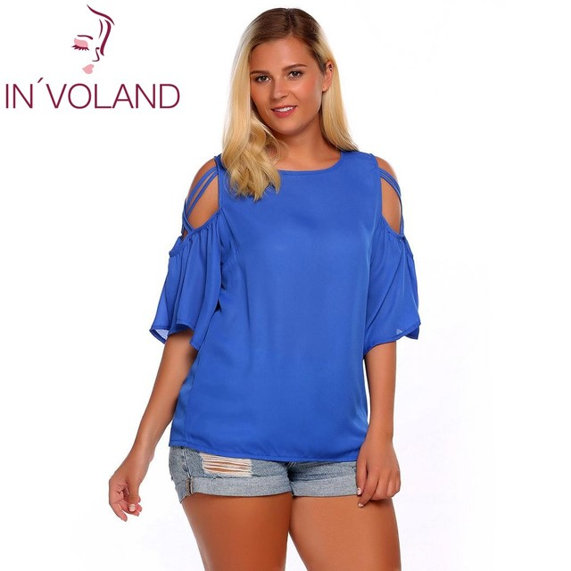 IN VOLAND Women Chiffon Blouse Blusas Tops Plus Size Summer Autumn Half  Sleeve Solid Sexy Cold Shoulder Femme Robe Oversized f4e5be0827da