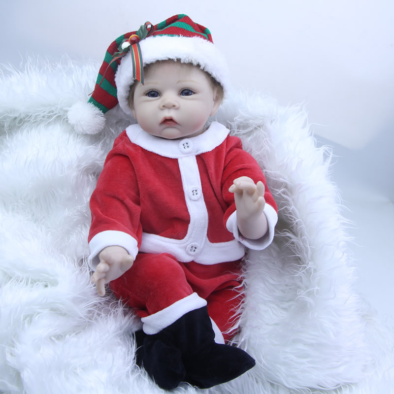 2018 Newborn Reborn Babies Dolls 22 Inch Soft Silicone Baby Stuffed Doll PP Cotton Body Alive Princess Kids Birthday Xmas Gift цена