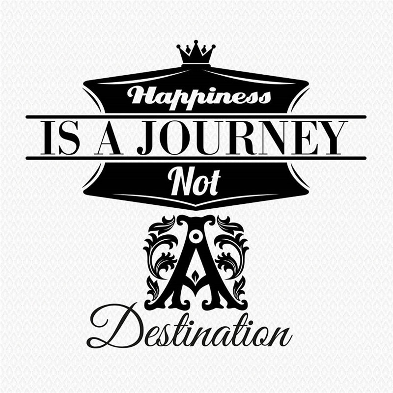 2018 New Design Modern Wall Stickers Quotes Happiness is a journey not a destination Office House Decoration Wall Decals
