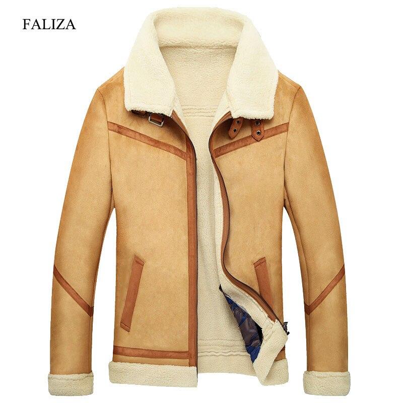 FALIZA зимняя верхняя одежда мужская искусственного меха пальто мужской кожаный жакет с флисовой подкладкой толстый бархат Тонкий Термальнос...