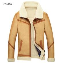 FALIZA New Winter Leather Coats Mens Faux Fur Coat Male Leather Jacket Fleece Lined Velvet Thick Slim Thermal Fur Jacket Men JKF