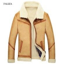 Faliza新冬の革のコートメンズフェイクファーコート男性革のジャケットフリース裏地ベルベット厚いスリム熱毛皮ジャケット男性jkf