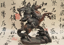 wholesale factory China Folk Red Bronze Dragon Guan Gong holding knife Ride Horse Warrior Statue