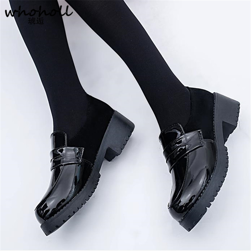 WHOHOLL Cute Lolita Girl Women Maid Boots Shoes Round Toe Leather Shoes Japanese JK High School Uniform Kawaii Anime Cosplay in Shoes from Novelty Special Use