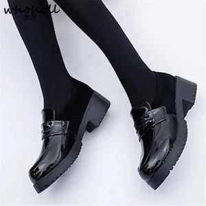 Image 2 - WHOHOLL Cute Lolita Girl Women Maid Boots Shoes Round Toe Leather Shoes Japanese JK High School Uniform Kawaii Anime Cosplay