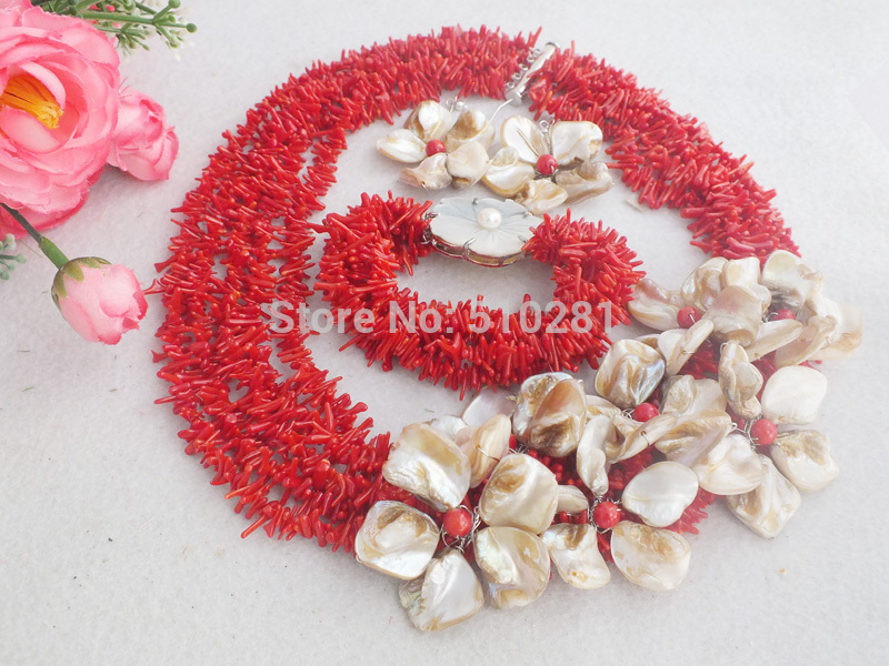 NO-1932# free shipping !!!  Fashion Red Coral Beads Necklace Coral Jewelry Set With Shell Flower Set