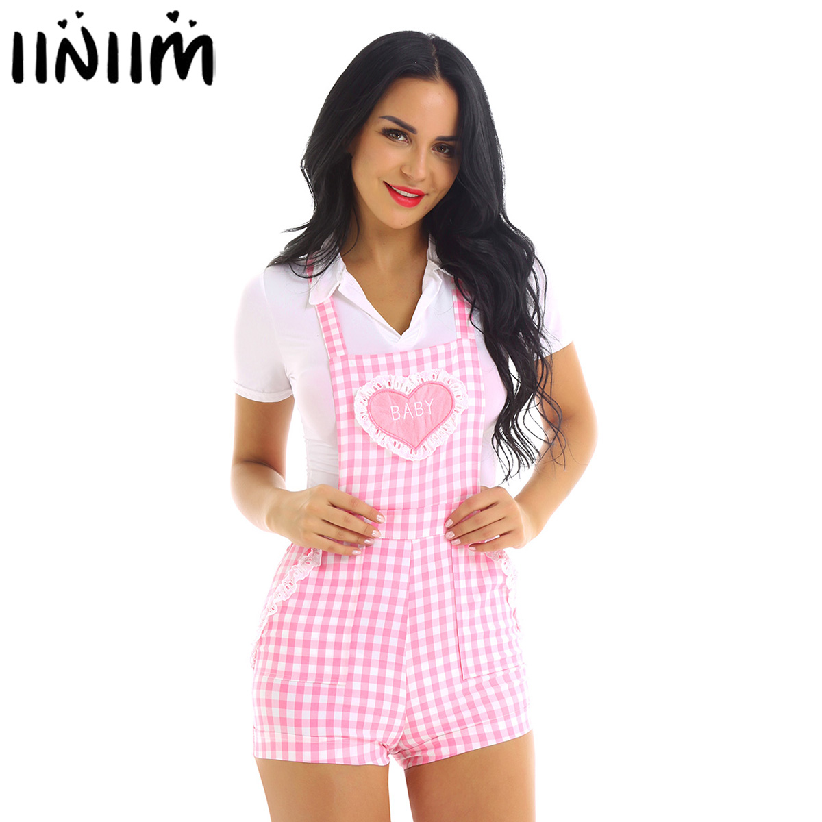 Femme Womens Cute School Clothing Baby Patch Adjustable Straps Criss cross Back Gingham Print Babydoll Short Overalls Shortalls