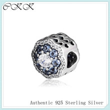 Fit Pandora Bracelets Blue Sparkle Flower Charm 925 Sterling Silver ,Blue and Clear Zircon Beads for Jewelry Making PF927