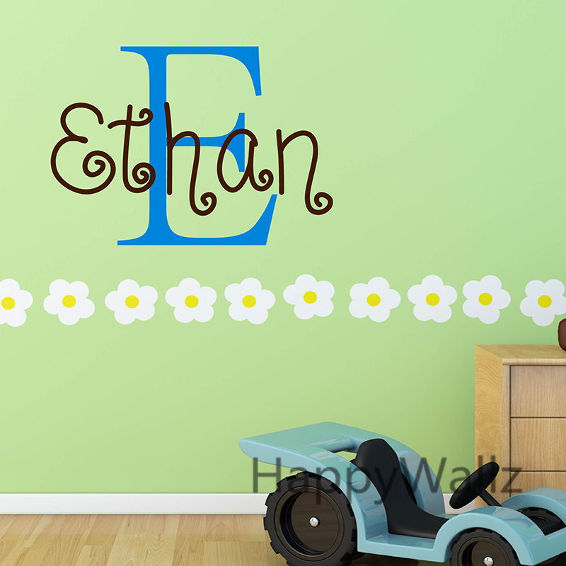 baby nursery wall stickers diy custom name wall decal kids room children name wall decors easy. Black Bedroom Furniture Sets. Home Design Ideas