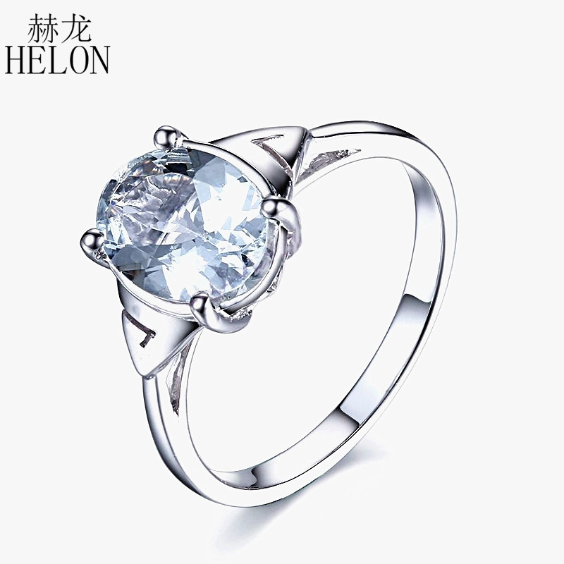 HELON Beautiful Solid 14k White Gold 9x7mm Oval Cut Aquamarine Cluster Ring Brand New Engagement Wedding Gemstone Fine Ring кольцо brand new ring