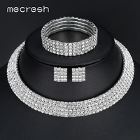 Classic Four Row Rhinestones Silver Necklace Earrings Bracelets Bridal Wedding Jewelry Sets TL299 SL116