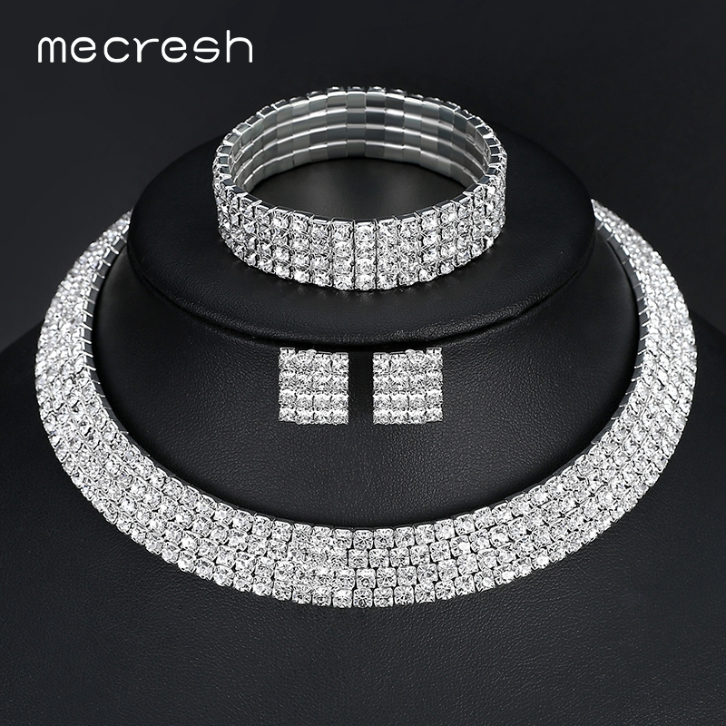 Mecresh Kristal Bridal Jewelry Set Warna Silver Berlian Imitasi Kalung Pernikahan Engagement Jewelry Set untuk Wanita TL299 + SL116