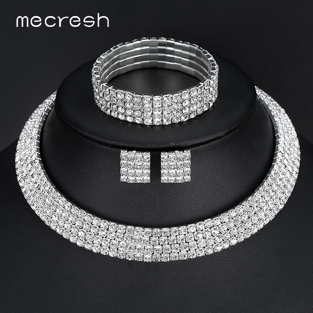 Mecresh Crystal Bridal Jewelry Sets Silver Color Rhinestone Necklace