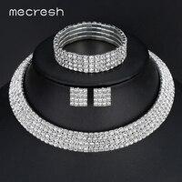 Classic Four Row Rhinestones Silver Necklace Earrings Bracelets Bridal Wedding Jewelry Sets TL299 SL116