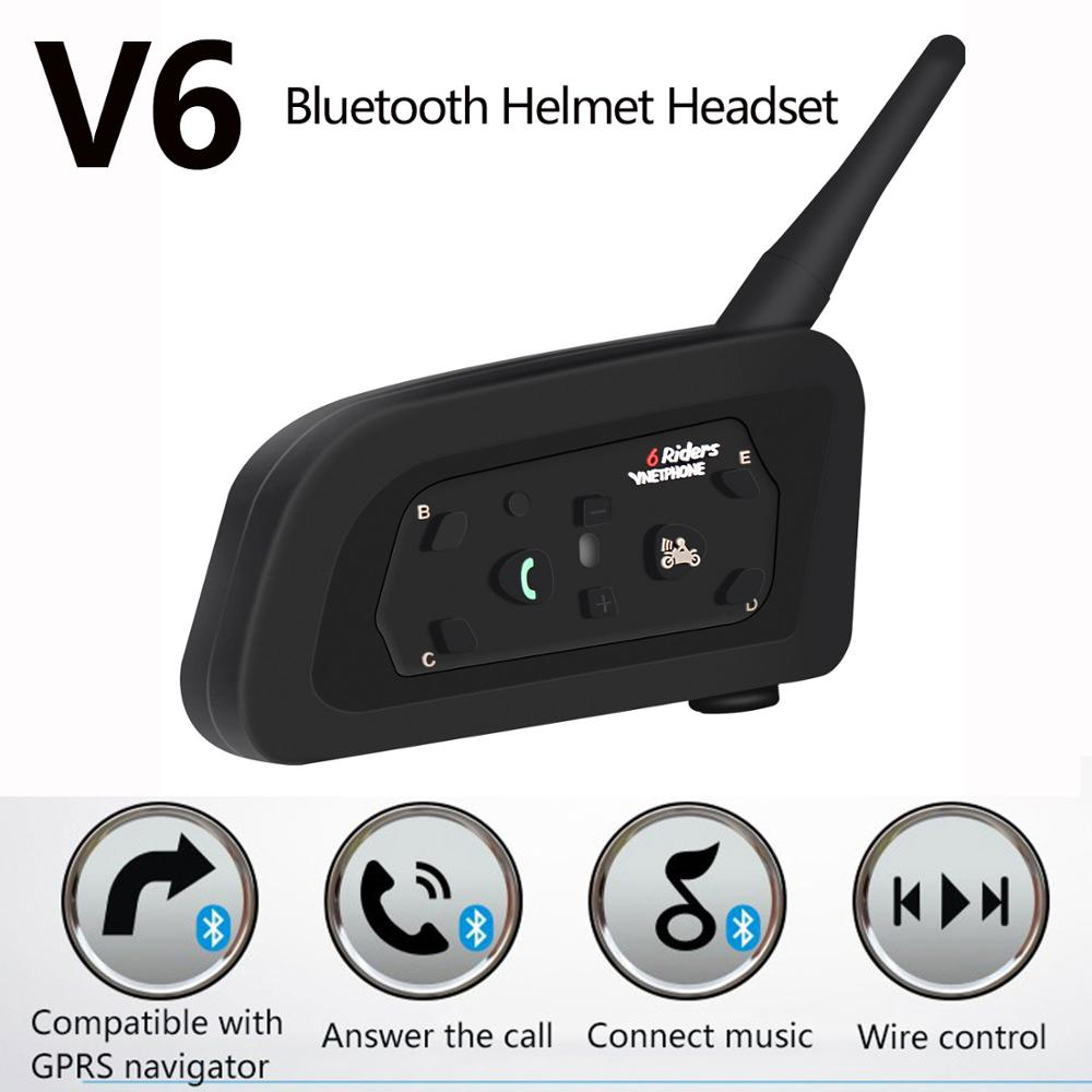 2019 New V6 Motorcycle Intercom Helmet Bluetooth Headsets 1200M Team Speaker Noise Reduction Intercommunicador Moto For 6 Riders
