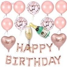 8-Season Birthday Party Theme Rose Gold Happy Birthday Balloons Kids Adult photo ShootBlue Pink Baby Shower Balloon Table Decor