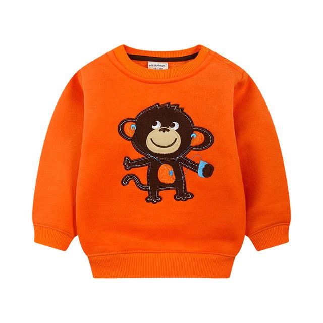 2016 crianças novas do algodão outono roupas orange bonito crianças casaco roupas de inverno quente unisex meninos meninas camisolas para 3-5 anos