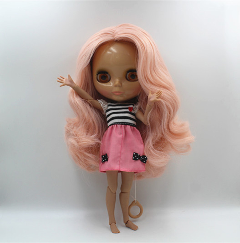 Free Shipping BJD joint RBL-407J DIY Nude Blyth doll birthday gift for girl 4 colour big eyes dolls with beautiful Hair cute toy