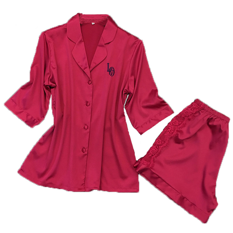De Dentelle Homewear D'été Pyjama Mode Femmes Satin Chaude Ensemble 1OqX15w