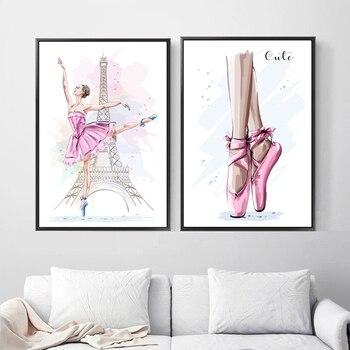 Cartoon wieża paryska baletnica obraz ścienny na płótnie Nordic plakaty i druki zdjęcia ścienny do wystroju pokoju dziecięcego