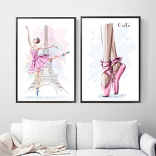 Watercolor Paris Tower Ballet Girl Wall Art Canvas Painting Nordic Posters And Prints Cartoon Pictures For Kids Room Decor