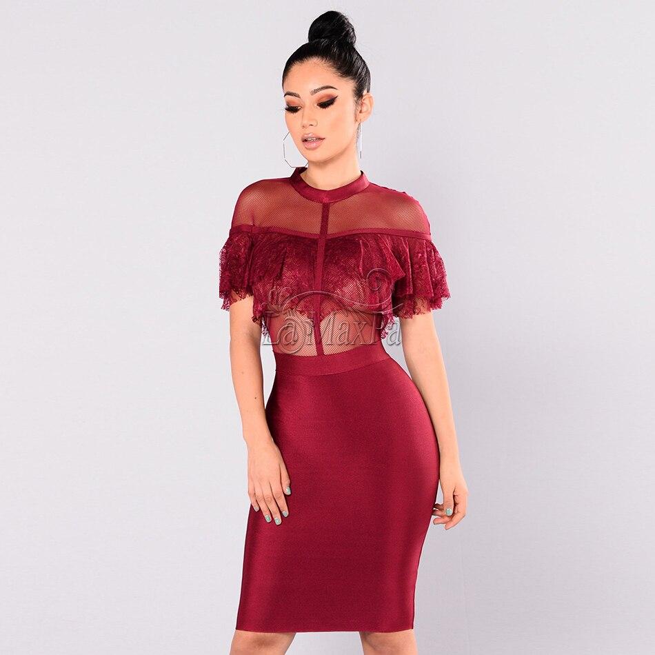Manches Sexy Soirée Dentelle 2017 Moulante Noir rouge Summer Rouge Femmes De Bandage Robes Noir À New Courtes Robe Impression Roulé Col wpxYnavqpO