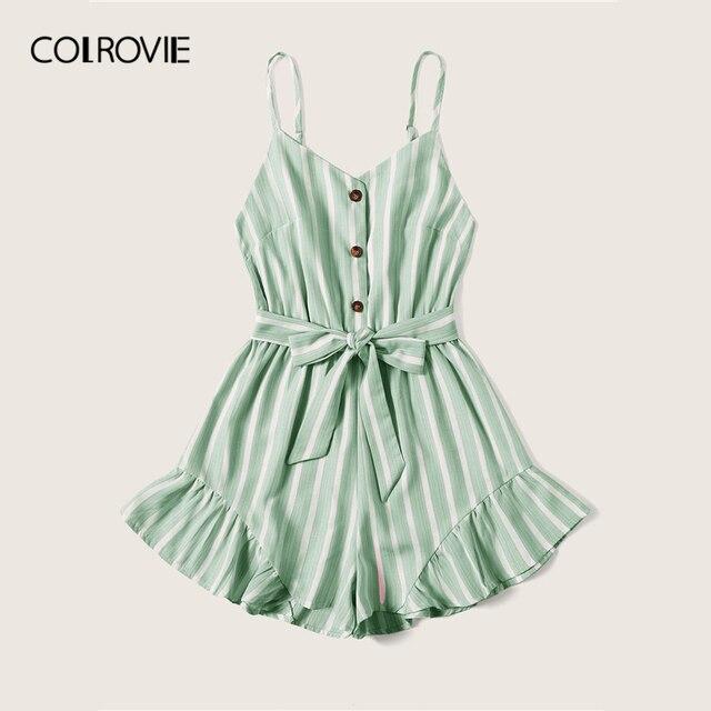 COLROVIE Plus Size Green Striped Ruffle Hem Spaghetti Strap Playsuits Women Summer Sleeveless Button Beach Wear Belted Romper 3