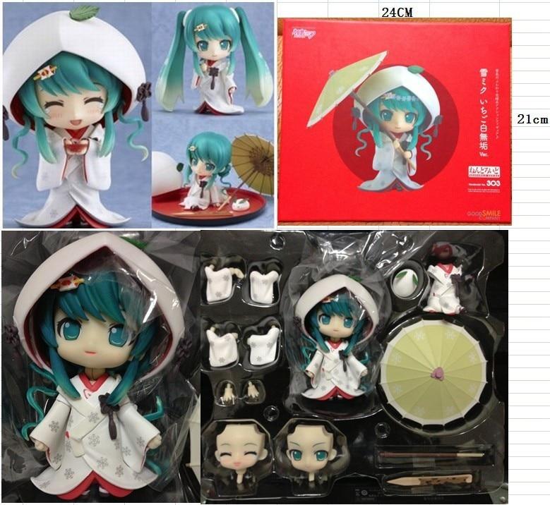 "ФОТО gsc cute nendoroid snow miku strawberry white kimono ver. hatsune miku pvc 3.6"" animation figure 303# new in box free shipping"