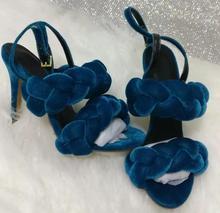 Carpaton 2017 New Fashion High Heels Sandals Women Sexy Velvet Open Toe Buckle Shoes Female Weave Elegan Pumps Heels Real Photo