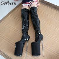 Sorbern Exquiste/женские высокие сапоги на платформе с металлическим каблуком 30 см, с круглым носком, блестящие женские сапоги на шпильках, обувь дл