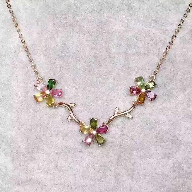 Natural multicolor tourmaline Necklace natural gemstone Pendant Necklace S925 Sterling silver trendy Flowers women party Jewelry natural multicolor tourmaline pendant s925 silver natural gemstone pendant necklace trendy round fireball women party jewelry