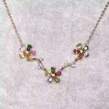 Natural multicolor tourmaline Necklace natural gemstone Pendant Necklace S925 Sterling silver trendy Flowers women party Jewelry