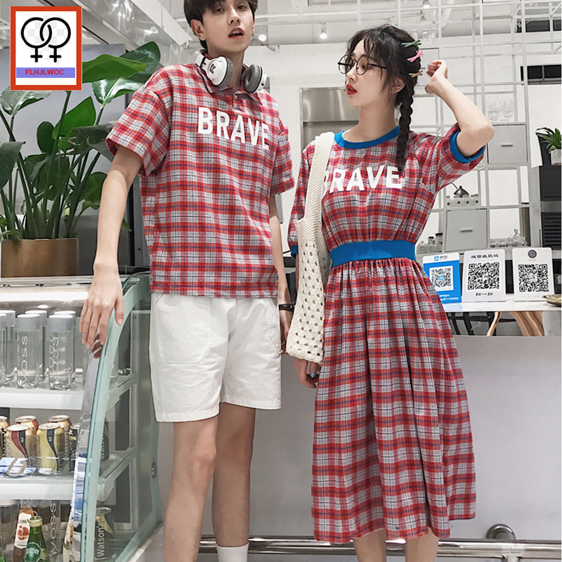 Matching Couple Clothes 2019 Design Honeymoon Holiday Date Valentine's Day Gift A Line Letter Summer Red Plaid Shirt Dress-in Dresses from Women's Clothing on AliExpress - 11.11_Double 11_Singles' Day 1