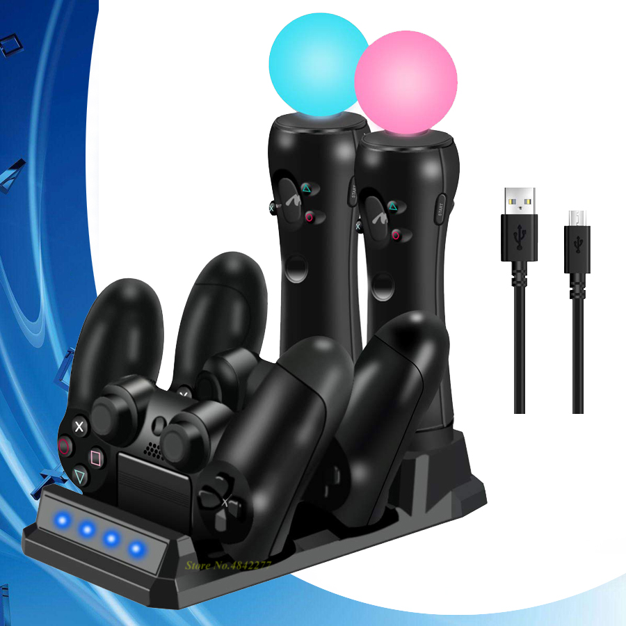 2019 PS 4 Slim Pro PS Move Joystick Controller Charger Charging Dock Station Play Station 4 Games PSVR Move PS4 Accessories image