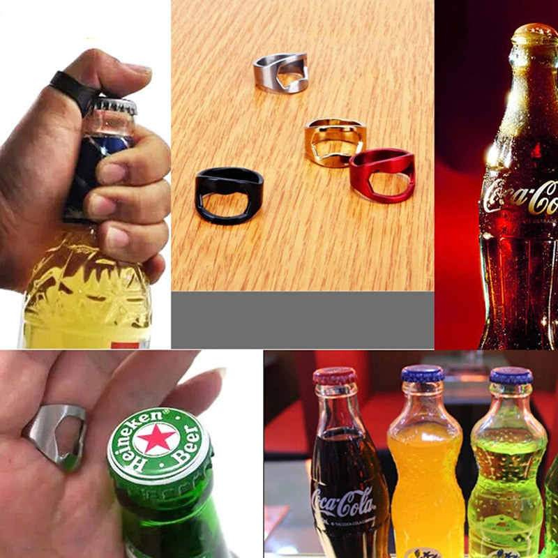 HYUUGA NEW 1PCS 22mm Stainless Steel Opener Beer Bottle Unique Creative Versatile Stainless Steel Finger Ring Ring-Shape