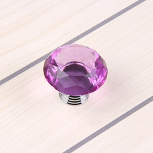 2016 Hot 10pcs 40mm K9 Crystal Glass Diamond Shape Cabinet Knobs Cupboard Drawer Pull Handles Purple SJ-1010